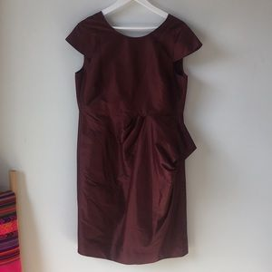 Duponi Silk J.Crew Cocktail Dress — Maroon
